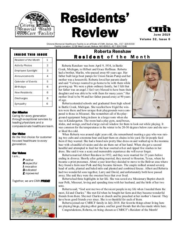 CMHCF Residents' Review June 2019