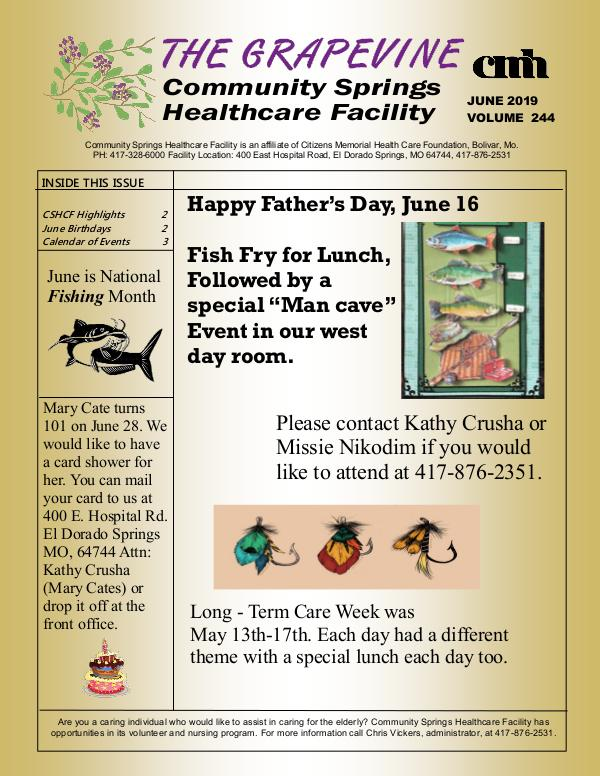 Community Springs Healthcare Facility's The Grapevine June 2019
