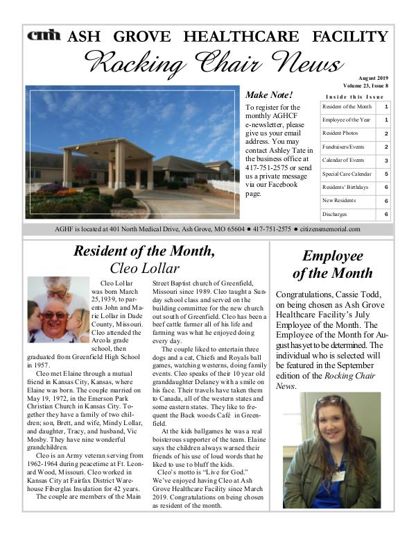 Ash Grove Healthcare Facility's Rocking Chair News August 2019
