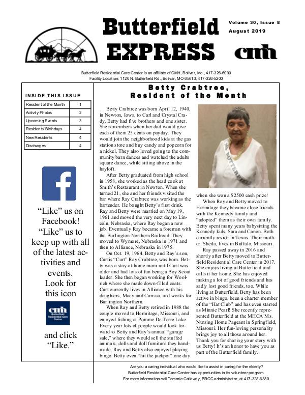 Butterfield Residential Care Center's Butterfield Express August 2019
