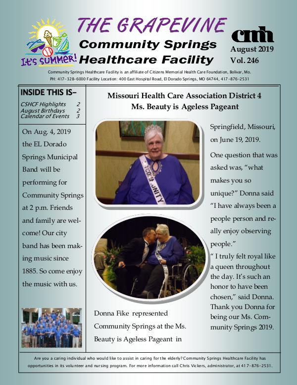 Community Springs Healthcare Facility's The Grapevine August 2019
