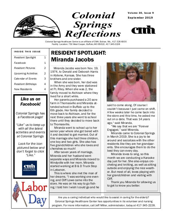 Colonial Springs Reflections September 2019
