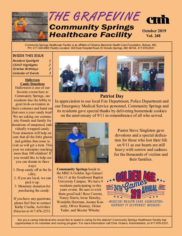 Community Springs Healthcare Facility's The Grapevine October 2019
