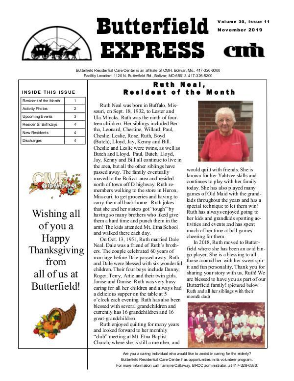 Butterfield Residential Care Center's Butterfield Express November 2019