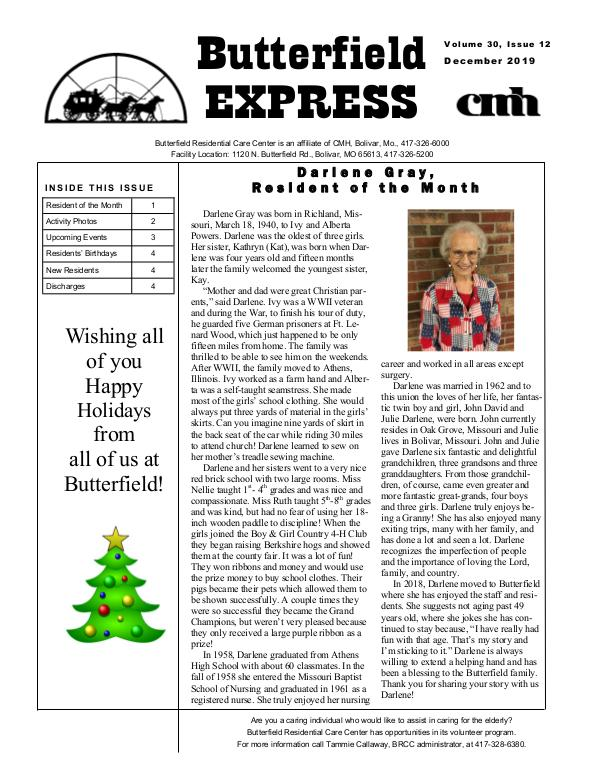 Butterfield Residential Care Center's Butterfield Express December 2019