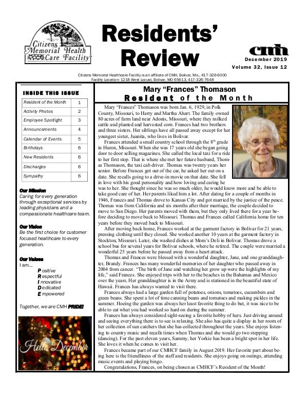 CMHCF Residents' Review December 2019