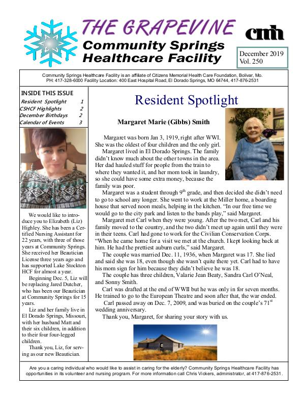 Community Springs Healthcare Facility's The Grapevine December 2019