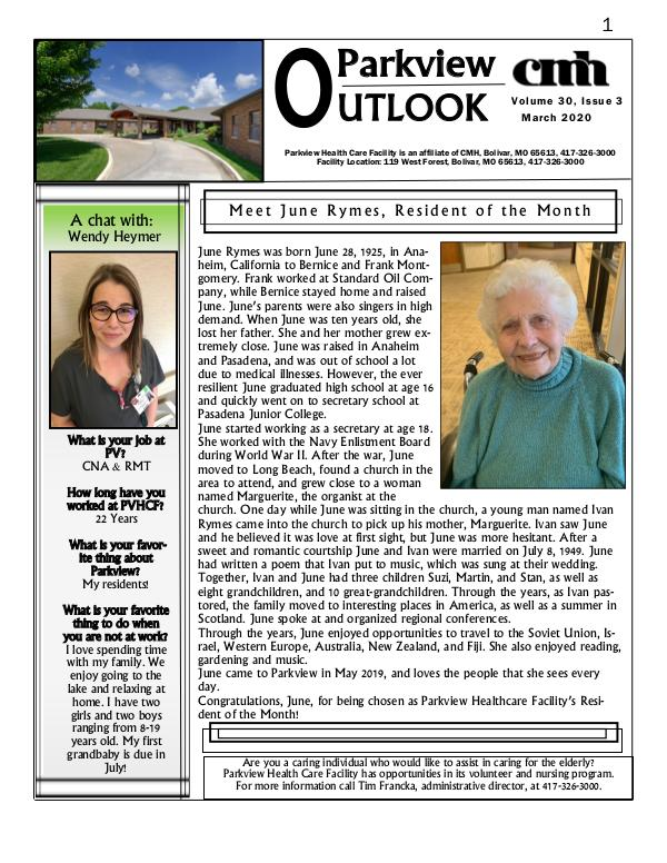Parkview Healthcare Facility's Parkview Outlook March 2020