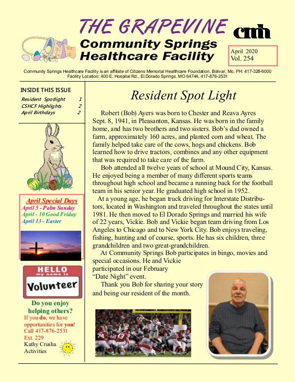 Community Springs Healthcare Facility's The Grapevine April 2020