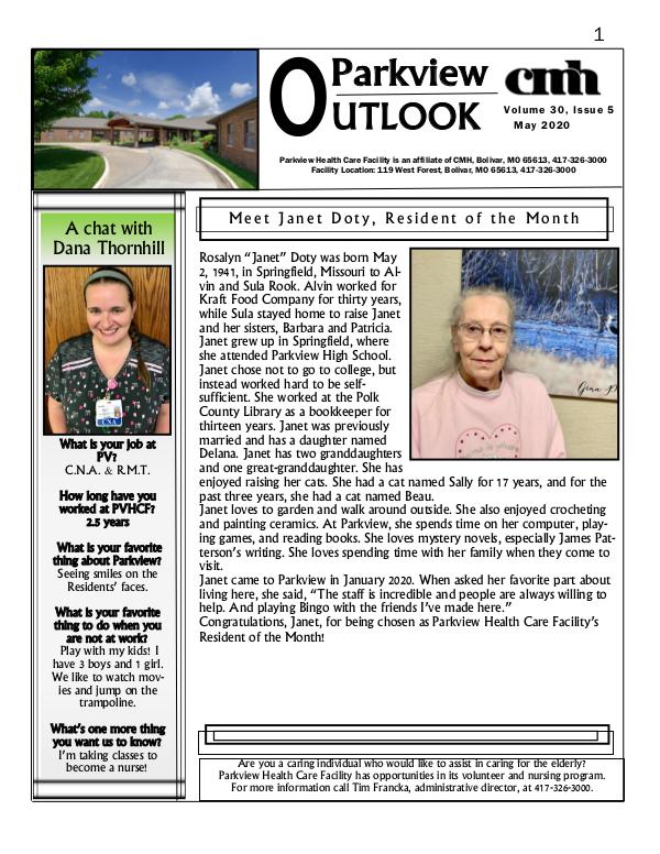 Parkview Healthcare Facility's Parkview Outlook May 2020
