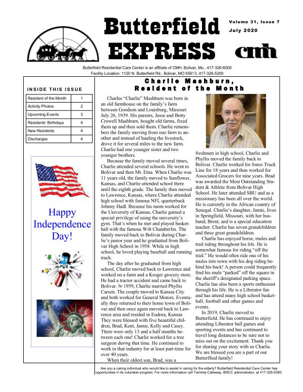 Butterfield Express July 2020