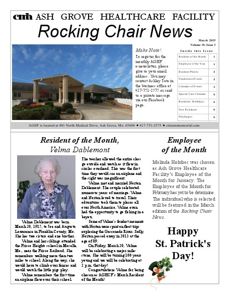 Ash Grove Healthcare Facility's Rocking Chair News March 2015