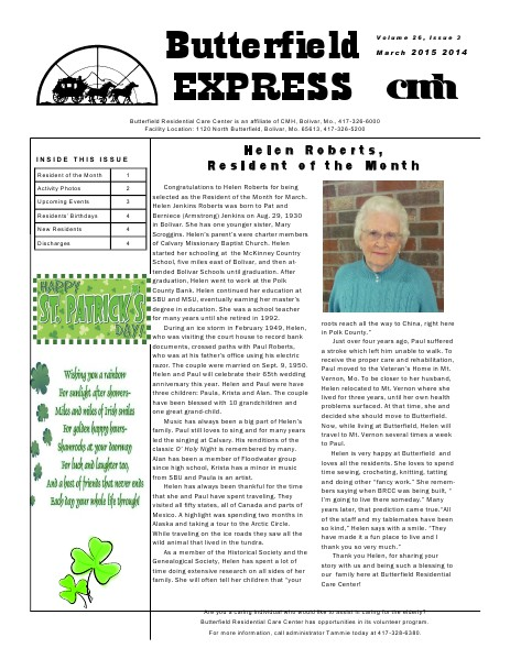 Butterfield Residential Care Center's Butterfield Express March 2015