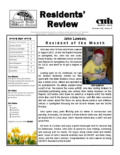 CMHCF Residents' Review March 2015