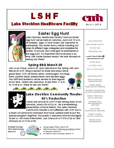 Lake Stockton Healthcare Facility eNewsletter March 2015