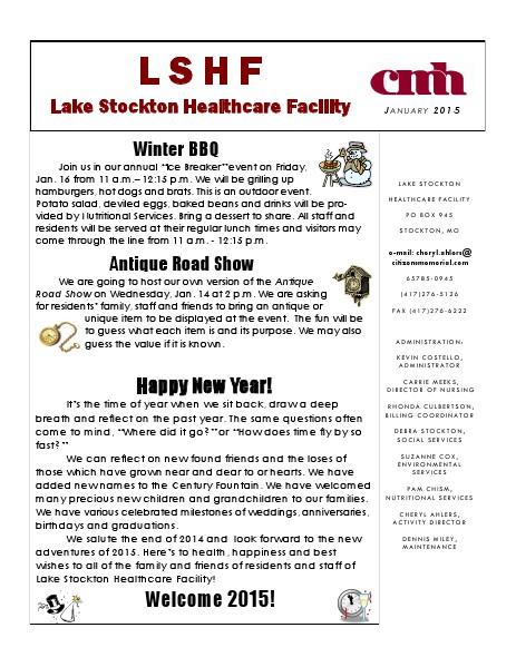 Lake Stockton Healthcare Facility eNewsletter January 2015