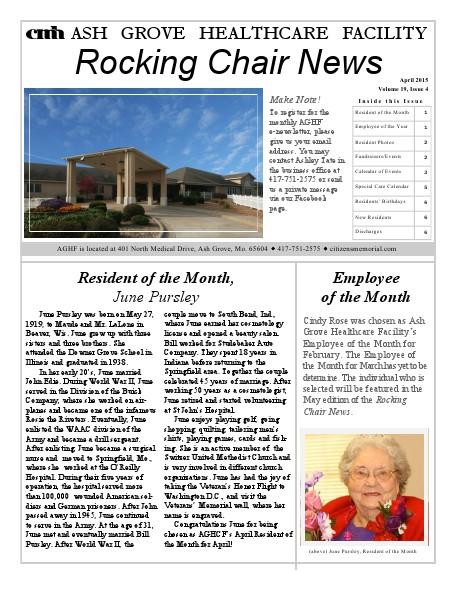 Ash Grove Healthcare Facility's Rocking Chair News April 2015