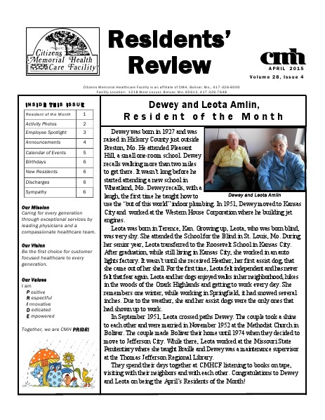 CMHCF Residents' Review April 2015