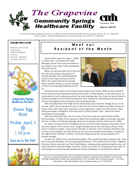 Community Springs Healthcare Facility's The Grapevine April 2015