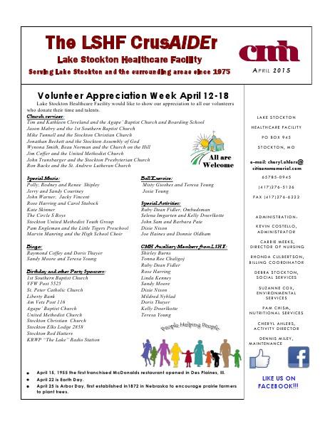 Lake Stockton Healthcare Facility eNewsletter April 2015