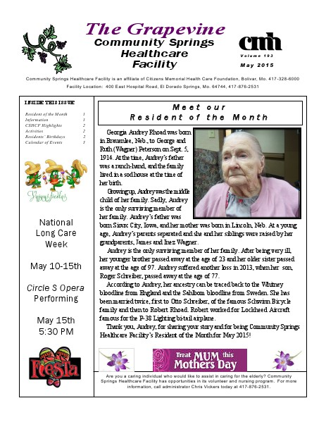 Community Springs Healthcare Facility's The Grapevine May 2015
