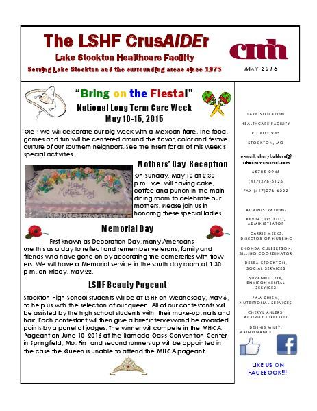 Lake Stockton Healthcare Facility eNewsletter May 2015