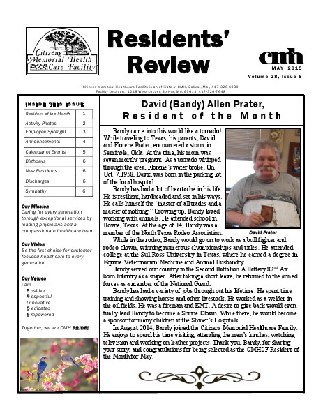 CMHCF Residents' Review May 2015