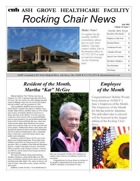 Ash Grove Healthcare Facility's Rocking Chair News July 2015