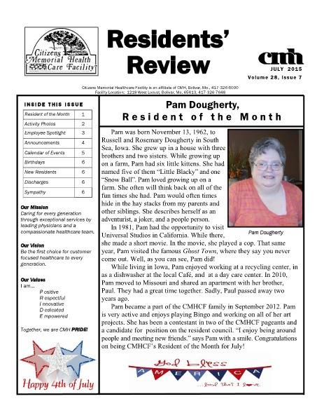 CMHCF Residents' Review July 2015