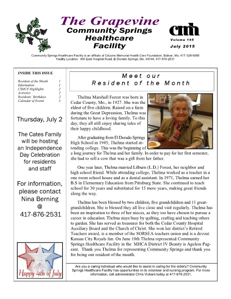 Community Springs Healthcare Facility's The Grapevine July 2015
