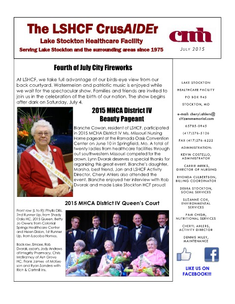 Lake Stockton Healthcare Facility eNewsletter July 2015