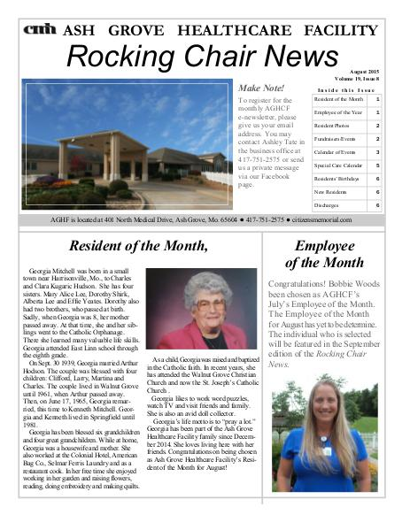 Ash Grove Healthcare Facility's Rocking Chair News August 2015