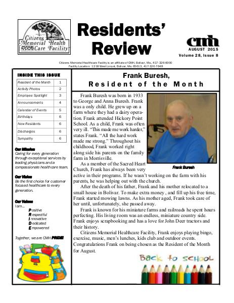 CMHCF Residents' Review August 2015