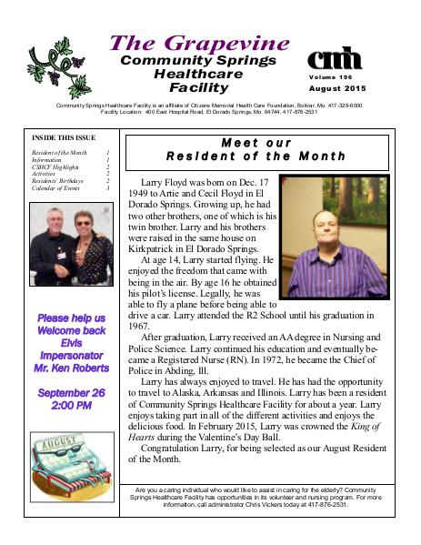 Community Springs Healthcare Facility's The Grapevine August 2015