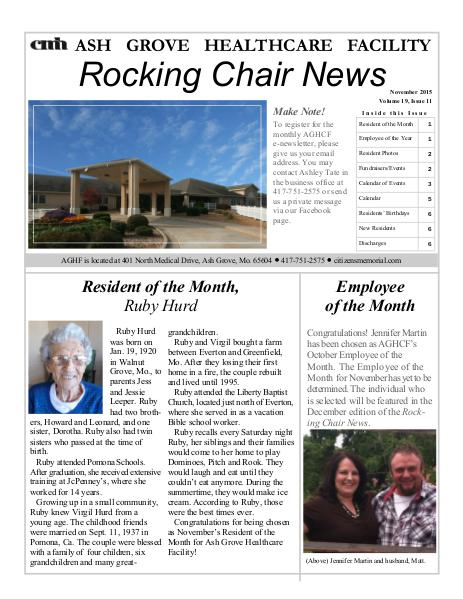Ash Grove Healthcare Facility's Rocking Chair News November 2015