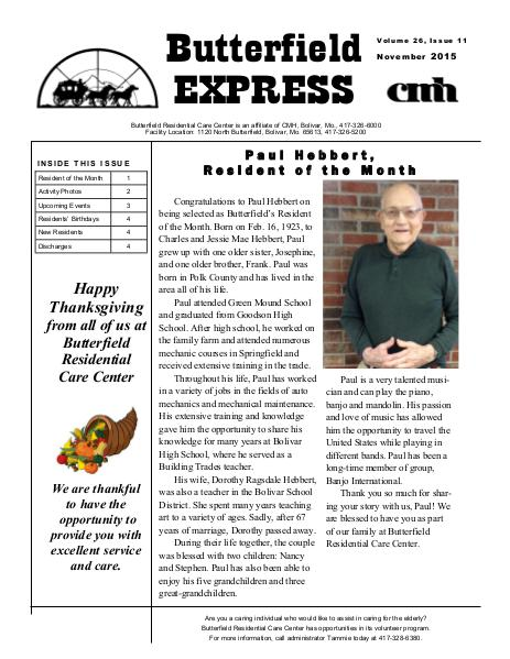 Butterfield Residential Care Center's Butterfield Express November 2015