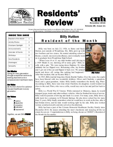 CMHCF Residents' Review November 2015