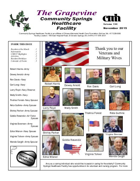 Community Springs Healthcare Facility's The Grapevine November 2015