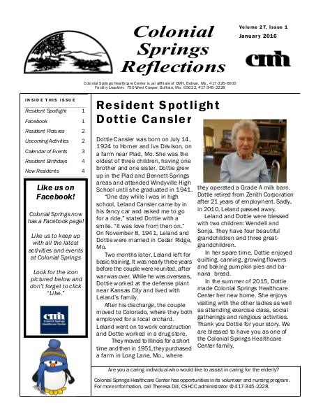 Colonial Springs Reflections January 2016
