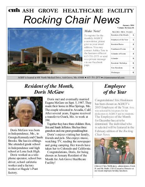 Ash Grove Healthcare Facility's Rocking Chair News January 2016