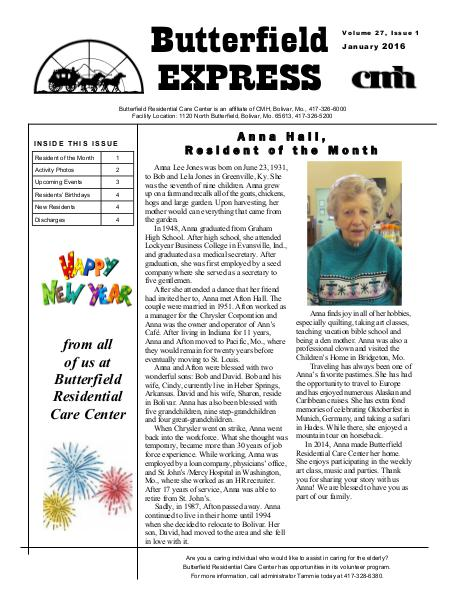 Butterfield Residential Care Center's Butterfield Express January 2016