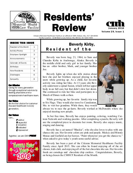 CMHCF Residents' Review January 2016