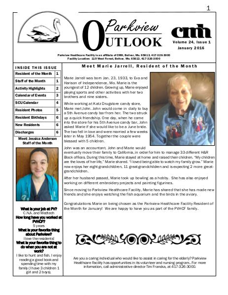 Parkview Healthcare Facility's Parkview Outlook January 2016