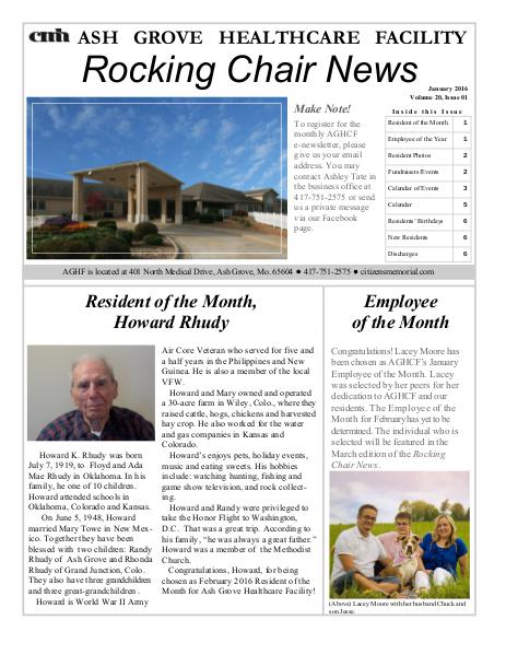 Ash Grove Healthcare Facility's Rocking Chair News February 2016