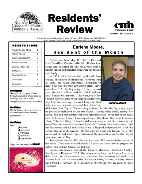 CMHCF Residents' Review February 2016