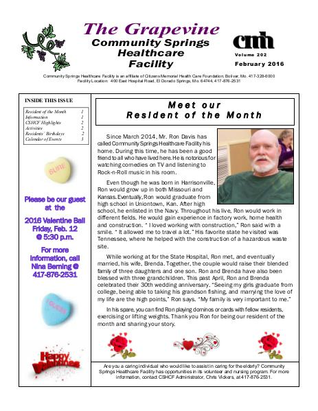 Community Springs Healthcare Facility's The Grapevine February 2016