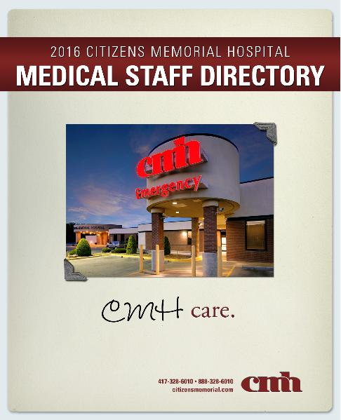 Citizens Memorial Hospital Medical Staff Directory 2016