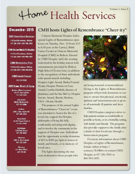 Home Health Services eNewsletter December 2015