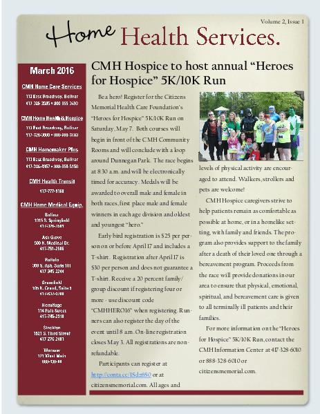 Home Health Services eNewsletter March 2016