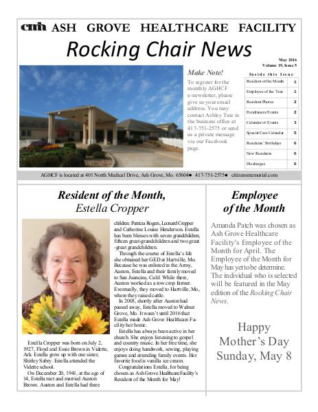 Ash Grove Healthcare Facility's Rocking Chair News May 2016